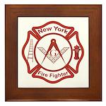 New York Masons Fire Fighters Framed Tile