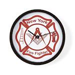 New York Masons Fire Fighters Wall Clock