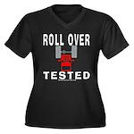 ROLLOVER TESTED Women's Plus Size V-Neck Dark T-Sh