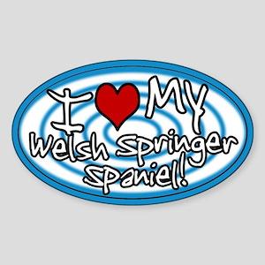 Hypno I Love My Welsh Springer Sticker Blue