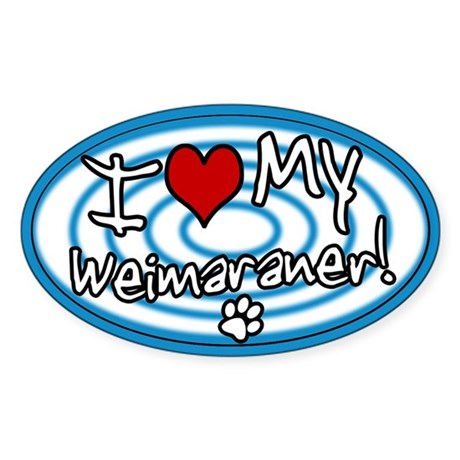 Hypno I Love My Weimaraner Oval Sticker Blue