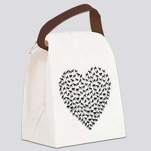 Dog Lovers Heart Canvas Lunch Bag