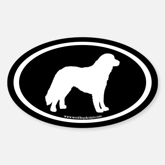 Kuvasz Oval (white on black) Oval Decal