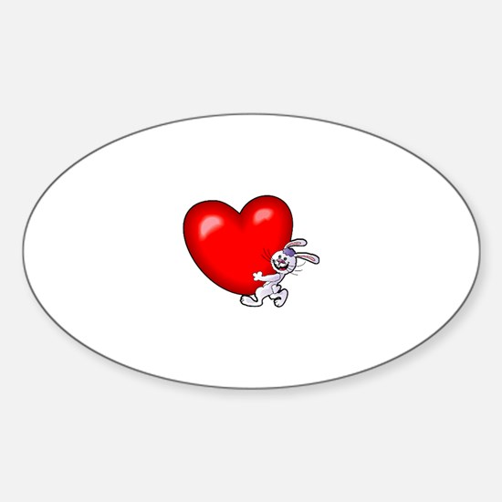 Bunny Heart Oval Decal