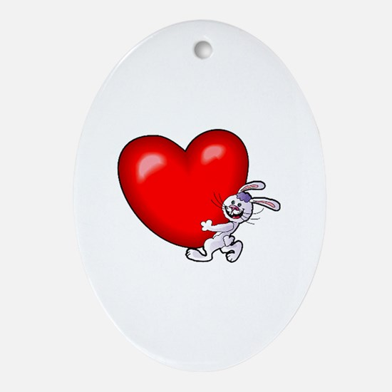 Bunny Heart Oval Ornament
