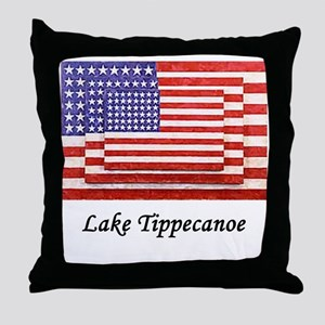 3 Flags Superimposed Throw Pillow
