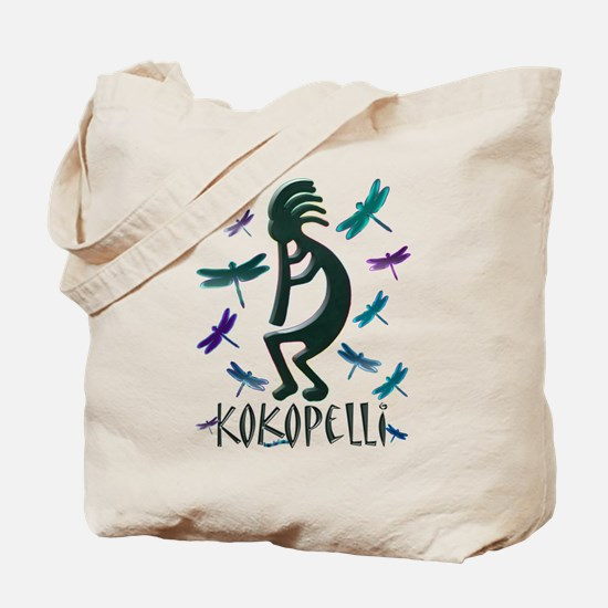 Kokopelli with Dragonflies Tote Bag