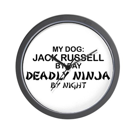 Jack Russell Deadly Ninja Wall Clock