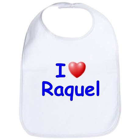 I Love Raquel (Blue) Bib