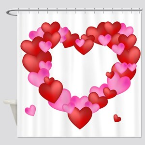 A wreath of Valentine's Hearts Shower Curtain