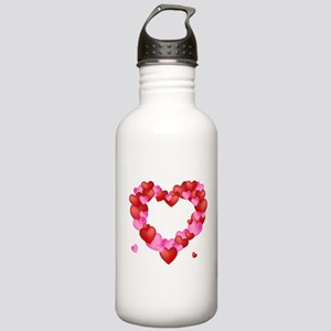 A wreath of Valentine's Hearts Water Bottle