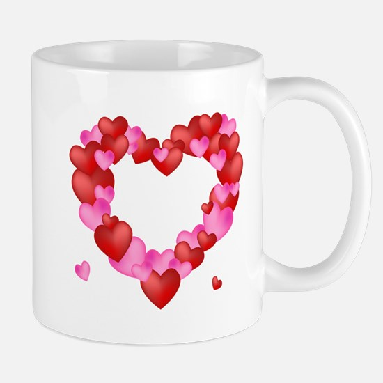 A wreath of Valentine's Hearts Mugs