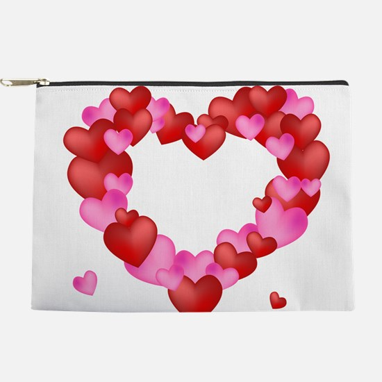 A wreath of Valentine's Hearts Makeup Bag