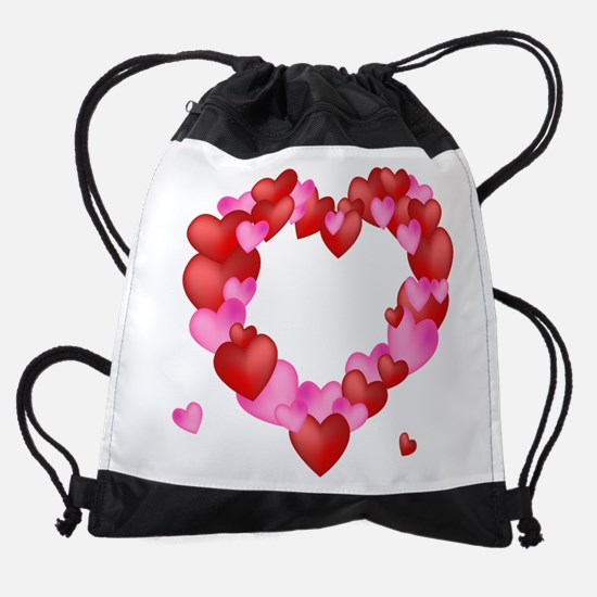 A wreath of Valentine's Hearts Drawstring Bag