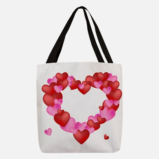 A wreath of Valentine's Hearts Polyester Tote