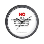 No, Complete Statement Lg.red - Wall Clock