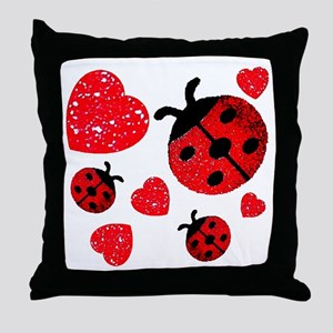 Lady Bugs and Hearts Valentin Throw Pillow
