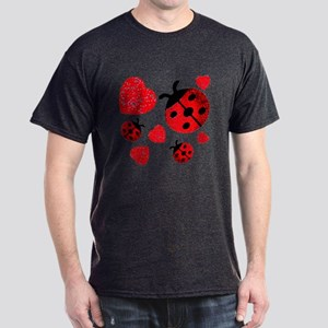Lady Bugs and Hearts Valentin Dark T-Shirt