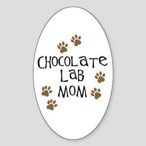 Chocolate Lab Mom Oval Sticker