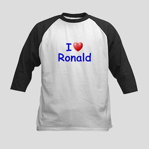 I Love Ronald (Blue) Kids Baseball Jersey