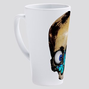 skull with blue butterfly 17 oz Latte Mug