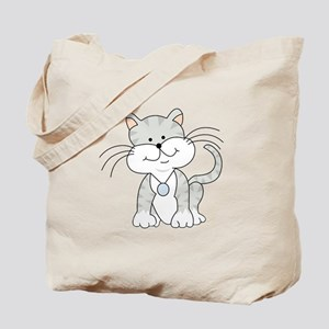 Happy Gray Kitty Tote Bag