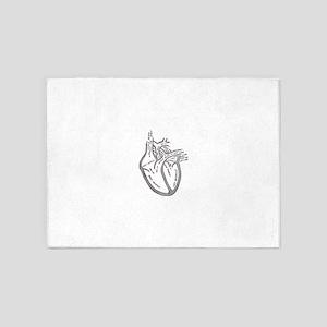 human-heart-blood-circulation-circa 5'x7'Area Rug