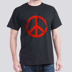 Red Peace sign Dark T-Shirt