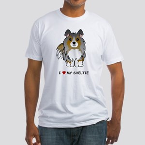 Blue Merle Sheltie Fitted T-Shirt