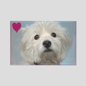 Devoted Westie Valentine Rectangle Magnet