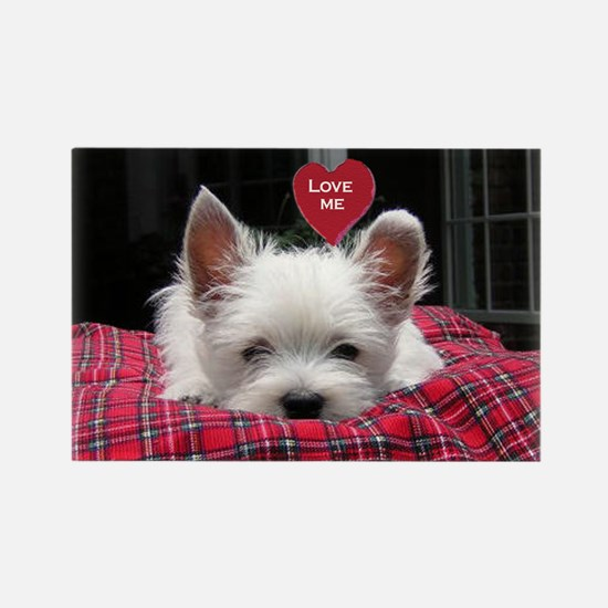 Winsone Westie Pup Valentine Rectangle Magnet