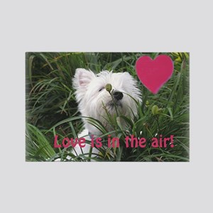 """""""Love is in the Air"""" Westie Rectangle Magnet"""