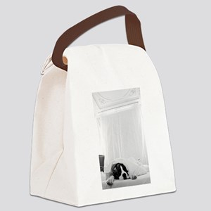 dog sleeping in bed Canvas Lunch Bag