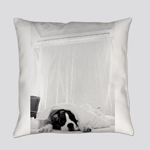 dog sleeping in bed Everyday Pillow