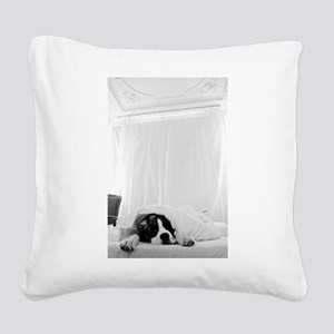 dog sleeping in bed Square Canvas Pillow
