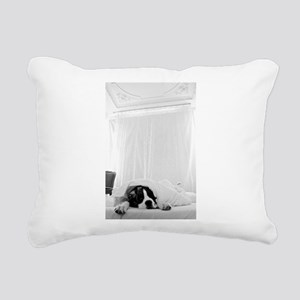 dog sleeping in bed Rectangular Canvas Pillow
