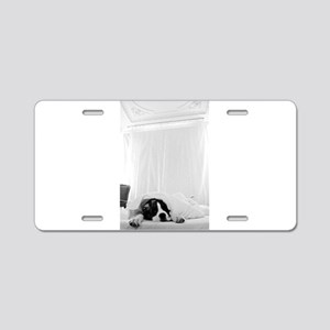 dog sleeping in bed Aluminum License Plate