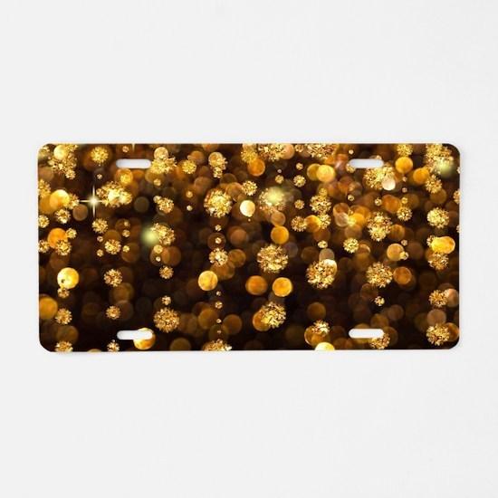 Gold Sparkles Aluminum License Plate