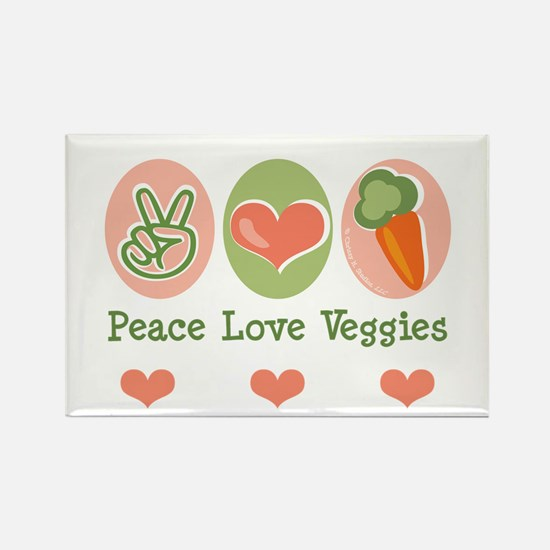 Peace Love Veggies Vegan Rectangle Magnet