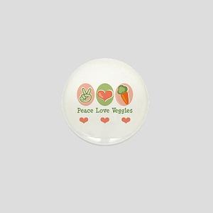 Peace Love Veggies Vegan Mini Button