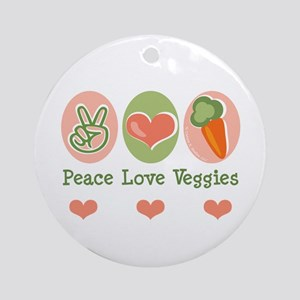 Peace Love Veggies Vegan Ornament (Round)
