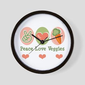 Peace Love Veggies Vegan Wall Clock