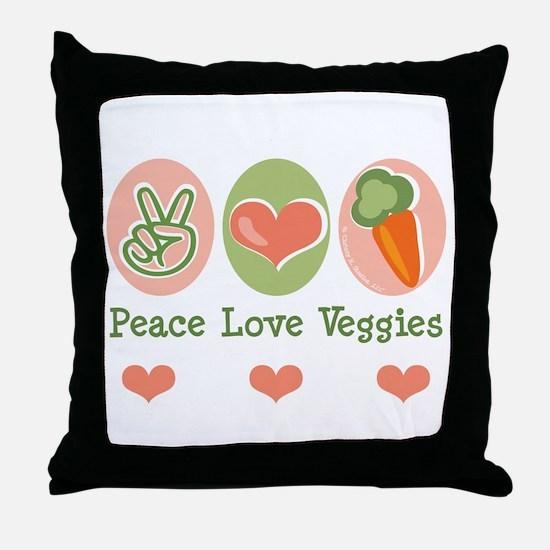 Peace Love Veggies Vegan Throw Pillow
