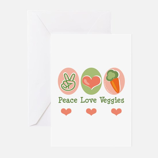 Peace Love Veggies Vegan Greeting Cards (Pk of 20)