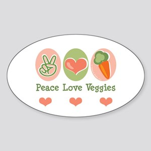 Peace Love Veggies Vegan Oval Sticker