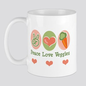 Peace Love Veggies Vegan Mug