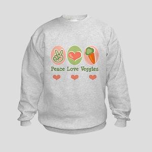Peace Love Veggies Vegan Kids Sweatshirt