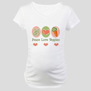 Peace Love Veggies Vegan Maternity T-Shirt