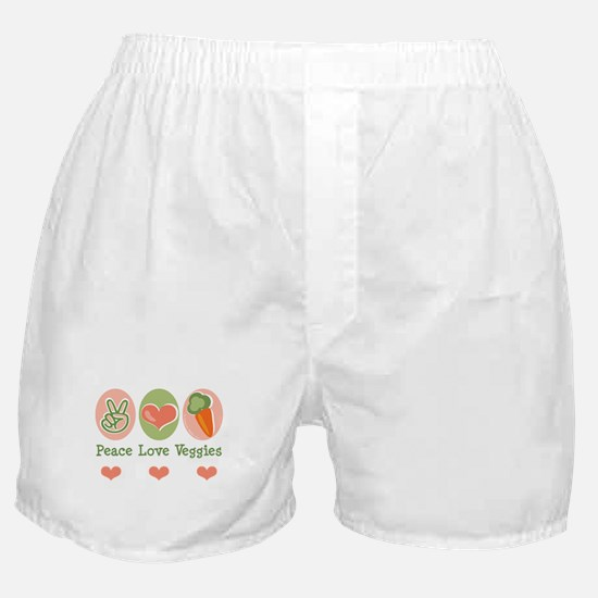 Peace Love Veggies Vegan Boxer Shorts
