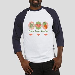 Peace Love Veggies Vegan Baseball Jersey